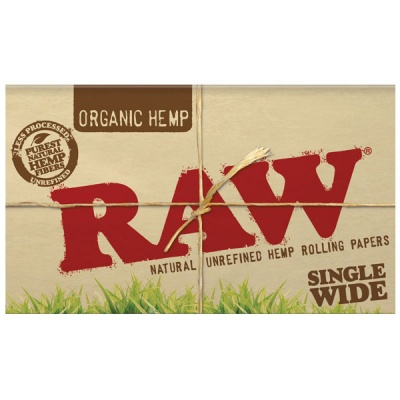 RAW Organic Single Wide Double Packs Standard Size Rolling Papers Full Box